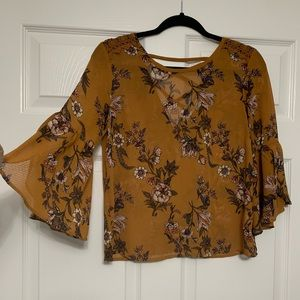 Mustard Floral Print Blouse w bell sleeve & lace!